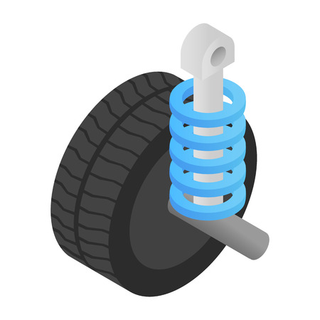 shock absorber: Wheel tire and shock absorber isometric 3d icon on a white background