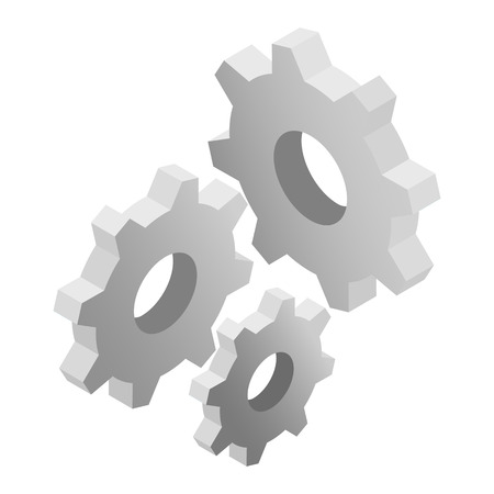 mechanical engineering: Gears isometric 3d icon on a white background Illustration