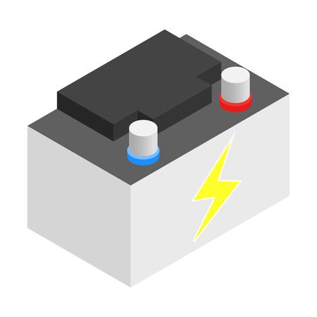 pila: Bater�a 3D isom�trico icono sobre un fondo blanco