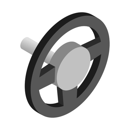 airbag: Black steering wheel isometric 3d  icon on a white background