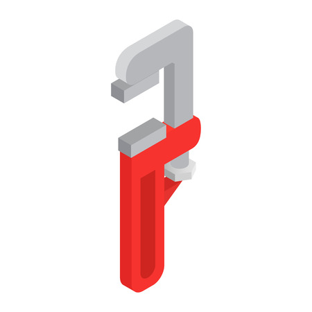 adjustable: Adjustable wrench with red handle isometric 3d icon on a white background Illustration