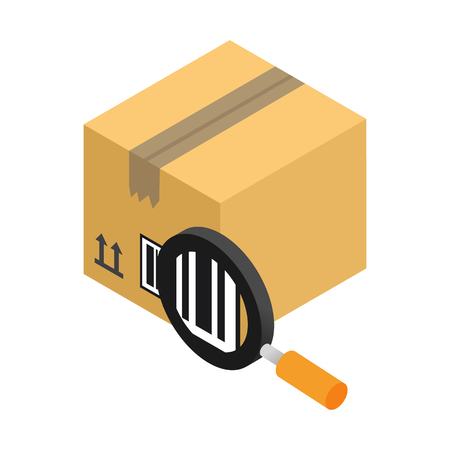 3d icon: Brown closed carton with bar code and magnifying glass isometric 3d icon on a white background Illustration