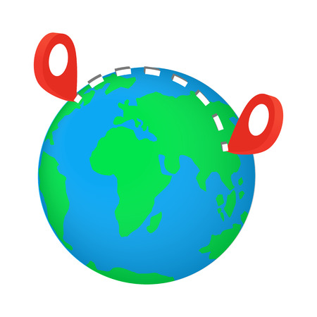 red  pointer: Globe earth with red pointer marks isometric 3d icon on a white background