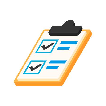 notebook con fare la lista isometrica 3D icona su uno sfondo bianco