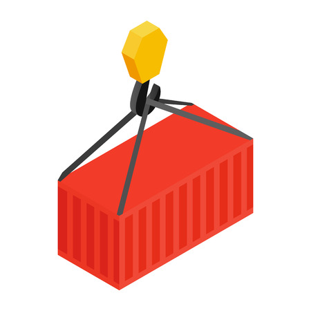 bulk carrier: Crane lifts a red container with cargo isometric 3d icon on a white background Illustration