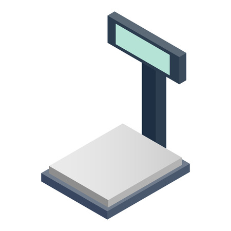 deliberation: Scales for weighing isometric 3d icon on a white background Illustration