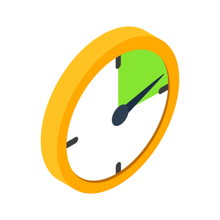 Yellow clock isometric 3d icon on a white background