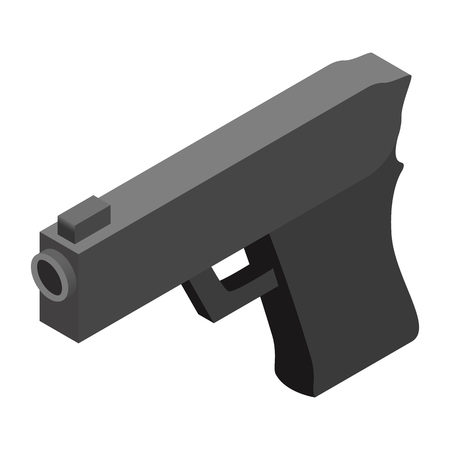 Gun isometric 3d icon on a white background Illustration