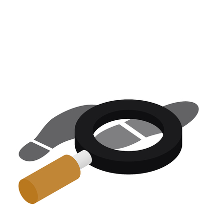 Magnifying glass and shoe print out isometric 3d icon on a white background Vektorové ilustrace