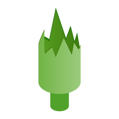broken down: Shattered green bottle isometric 3d icon on a white background