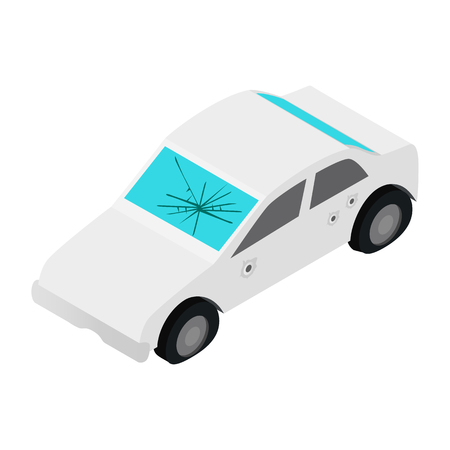 windshield: White car with broken windshield isometric 3d icon on a white background