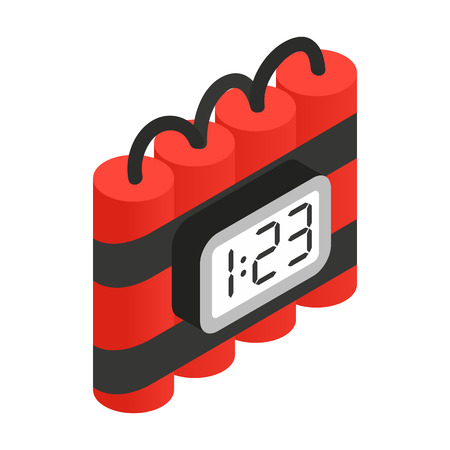 digital timer: Bomb with digital timer isometric 3d icon on a white background Illustration