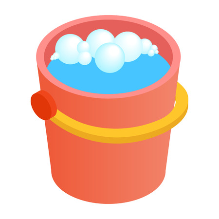 bright housekeeping: Bucket with water for cleaning isometric 3d icon on a white background Illustration