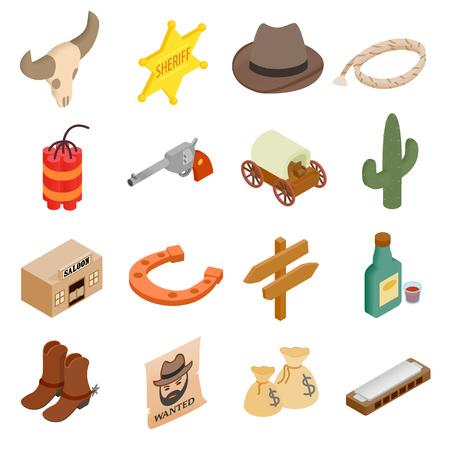 3d icons: Wild west cowboy isometric 3d icons set isolated on white background