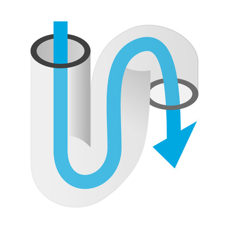siphon: Pipe of sink isometric 3d icon on a white background