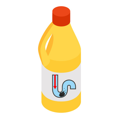 drain: Yellow container of drain cleaner isometric 3d icon on a white background