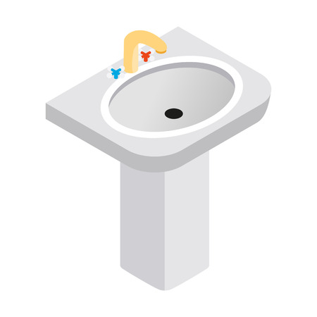 necessity: Pedestal sink with faucet isometric 3d icon on a white background