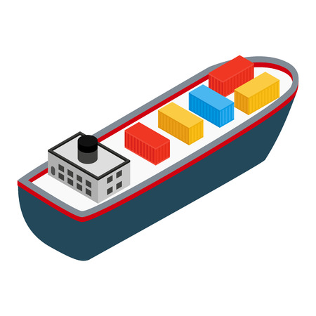 water carrier: Cargo ship isometric 3d icon on a white background