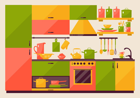 kitchen equipment: Kitchen with furniture in flat style for web and mobile devices