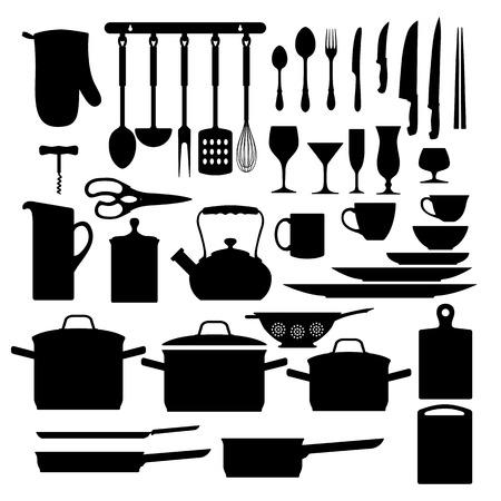 werkzeug: K�chenhelfer-schwarz-Sammlung isoliert auf wei�em Hintergrund