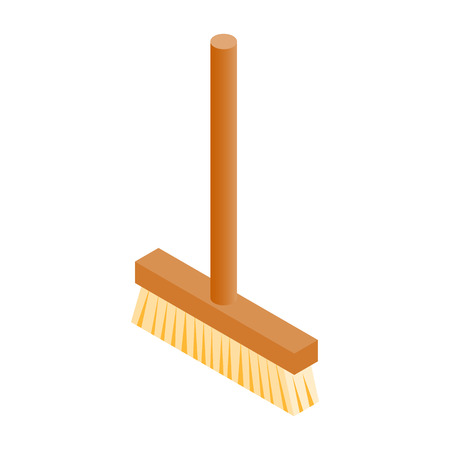 mopped: Mop isometric 3d icon isolated on a white background