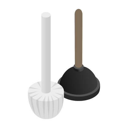 unblock: Plunger isometric 3d icon isolated on a white background
