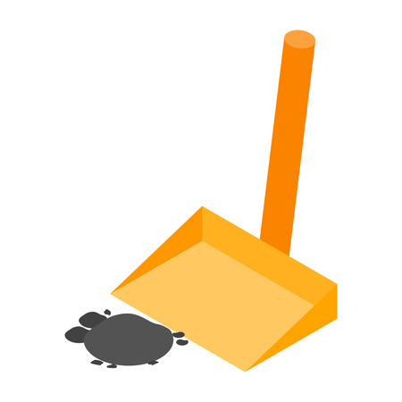 dustpan: Scoop with garbage isometric 3d icon isolated on a white background