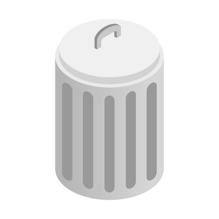 dumping: Urn with lid isometric 3d icon isolated on a white background