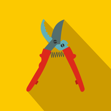 secateurs: Secateurs plane icon with shadow on yellow background