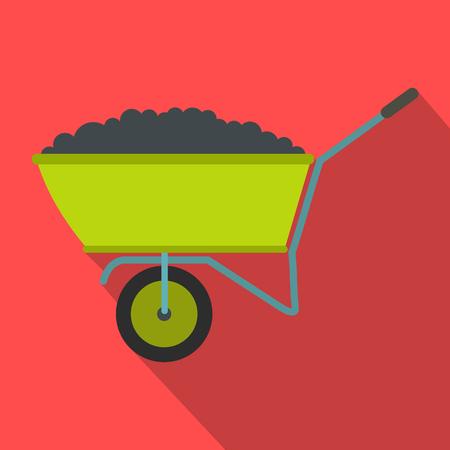 backyard work: Wheelbarrow icon with shadow on red background