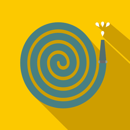 rinse spray hose: Hose plane icon with shadow on yellow background Illustration