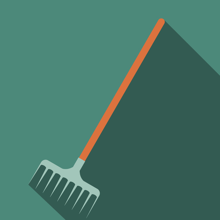 mopped: Rake icon with shadow on a green background