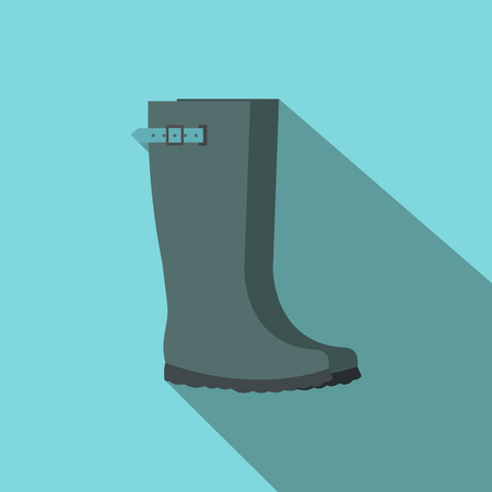 gum boots: Grey rubber boots flat icon on a blue background