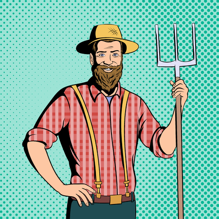 agrarian: Farmer character in comics style for web and mobile devices