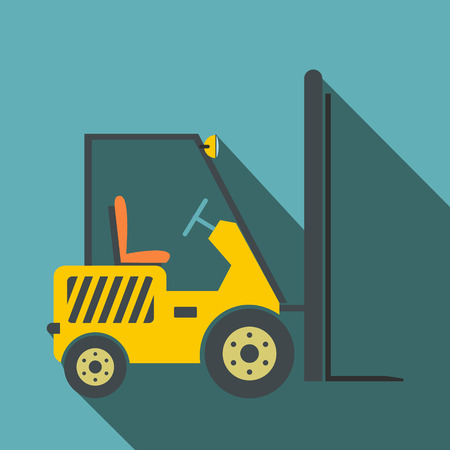 mini loader: Yellow loader flat icon on a blue background