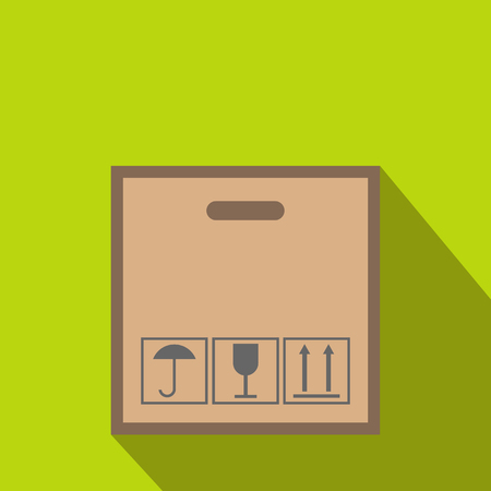 fragile: Cardboard with black fragile symbol flat icon on a green background Illustration