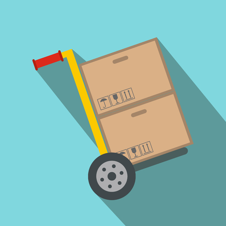 conveyance: Yellow hand cart with cardboard boxes flat icon on a blue background