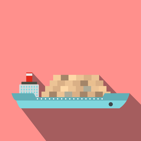 outdoor goods: Cargo ship flat icon for web and mobile devices