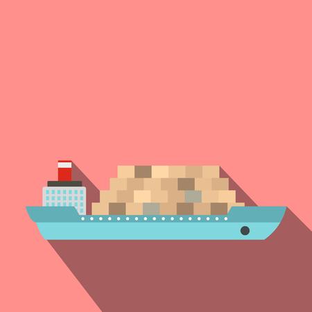 Vrachtschip flat pictogram voor web en mobiele apparaten Vector Illustratie