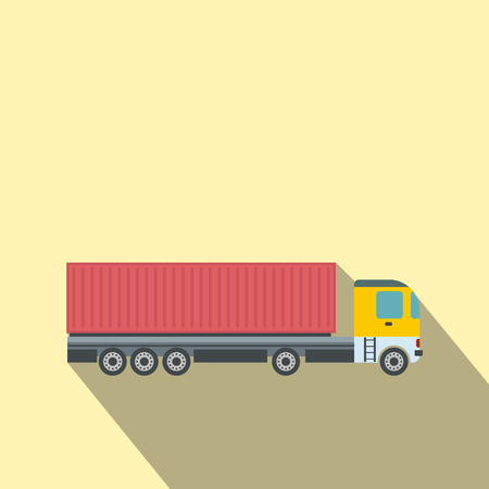 cary: Container at the dock with truck flat icon on a yellow background