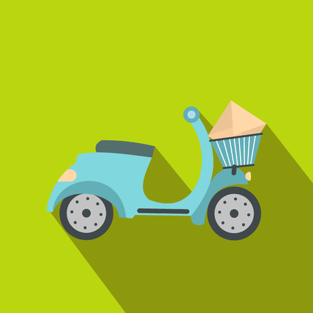 package sending: Delivery scooter flat icon on a green background