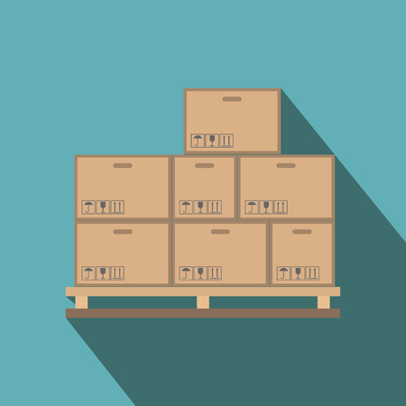 to unload: Cardboard boxes on wooden palette flat icon on a blue background Illustration