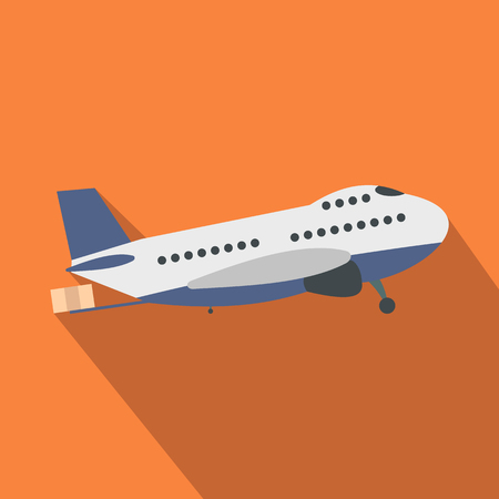 fuselage: Passenger airplane flat icon on an orange background Illustration