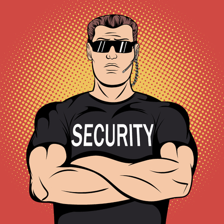 muscular control: Security guard in comics style for web and mobile devices