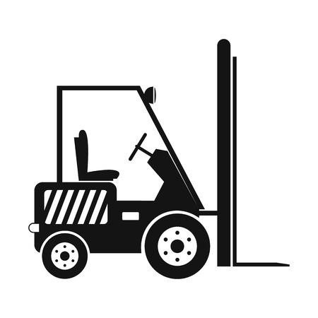 Carretilla elevadora de palets loader apiladora camión sencillo icono negro sobre un fondo blanco
