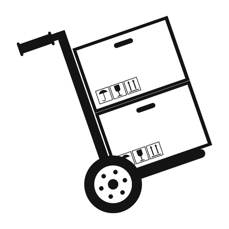 hand cart: Hand cart with cardboard boxes black simple icon on a white background