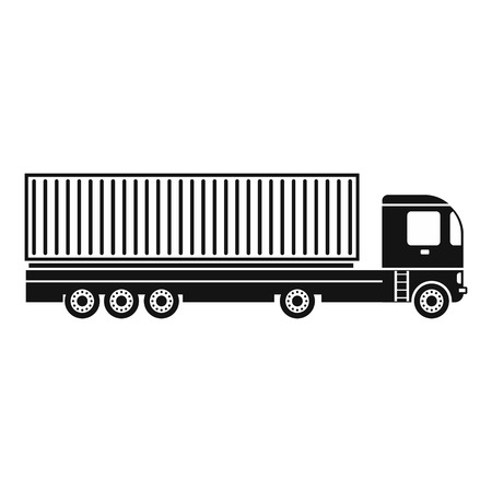 Container at the dock with truck black simple icon on a white background