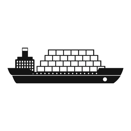 water carrier: Cargo ship flat black simple icon on a white background Illustration