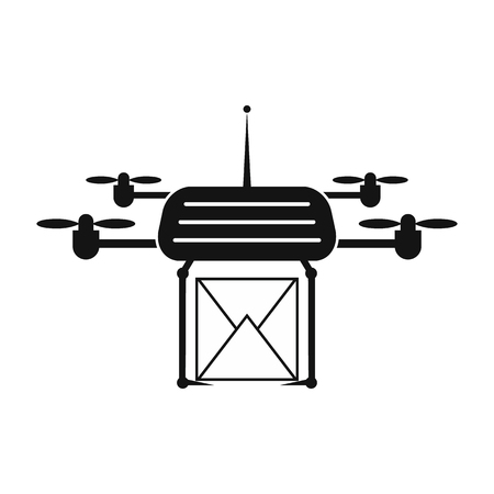 remote view: Quadcopter black simple icon on a white background