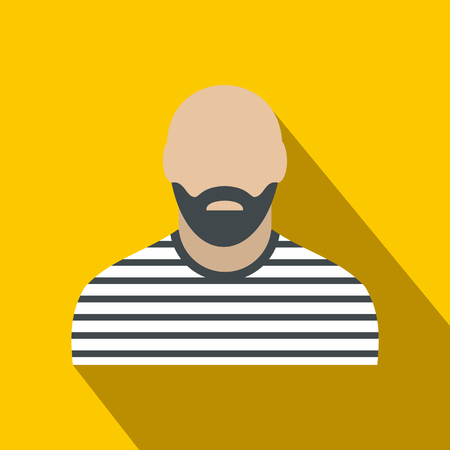 convict: Bearded man in prison garb flat on a yellow background